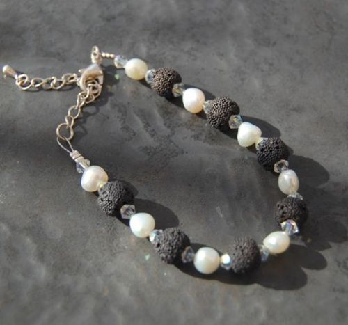 Freshwater Pearl, Lava Rock and Swarovski Crystal AB Bracelet WAS £20 FB20